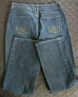 Women's Chico's Platinum Denim Jean's Size 1.5 Short Rhinestones Pockets