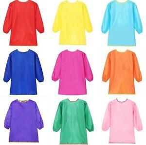 Teen Girl Boy Children Solid simple Bib school Apron Art Paint Smock Shirt 4-14y
