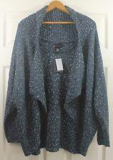 NWT Lane Bryant Cardigan Shrug Wear 2 Ways Wool Metallic Sweater Plus Sz 14/16