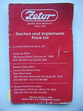 Vintage Original Zetor Tractor & Implement Price List booklet 24-pages