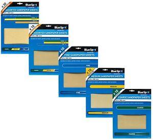 BlueSpot Packs of Sanding Sheet Sandpaper Coarse Medium Fine Or Assorted Pack