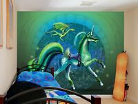 3D Grünes Einhorn Drachen 485NAM Tapete Wandbild Selbstklebend Rose Khan Fay