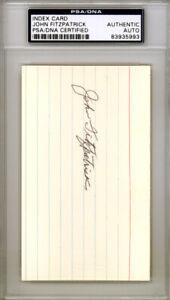 John Fitzpatrick Autographed Signed 3x5 Index Card Pirates PSA/DNA 83935993
