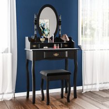 Home Discount Nishano 3 Drawer Dressing Table With Stool - Black