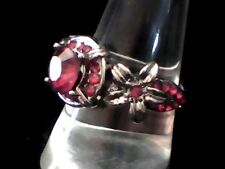 Fresh Fashion Creation to Impress! Red Created Agate in Antiqued Steel Size 8.5