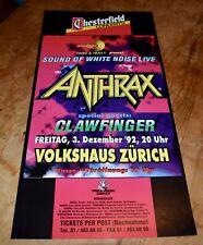 Anthrax clawfinger Original Swiss Concert Poster 1992 Zurich