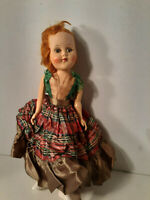 "Vtg/Antique 12"" CELLULOID Doll Hard Plastic Jointed SLEEPY EYES Old Dress Slip"