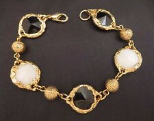 Vintage? Decorative Bezel Set Rivoli Cut Black/White Plastic Stone Bracelet Gold