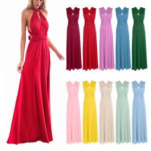 Women Convertible Multi Way Wrap Long Maxi Dress Evening Bridesmaid Formal Party