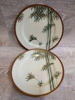 2 Vintage Japanese Bamboo Motif Gold Gilded Desert / Bread Plate