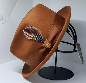 Mens Bruno Capelo Hat Australian Wool Pinch Front Fedora Cognac Brown