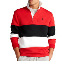 New listing POLO RALPH LAUREN Men's Large Double Knit Tech Rugby Shirt Red Black White $125