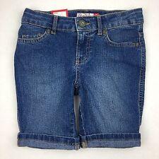 NEW SO Brand STRETCH DENIM BERMUDA SHORTS GIRLS SZ 7 Med Blue Jean Adj Waist NWT