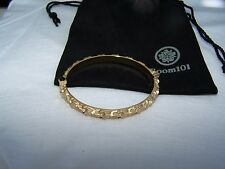 NEW ROOM 101 GOLD PLATED STANILESS STEEL SKULL BRACELET SIZE 7'' LENGHT