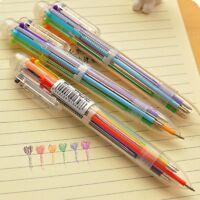 4Pcs/Set 6 in 1 Multicolor Rainbow Ballpoint Ball Point Pen Students Office