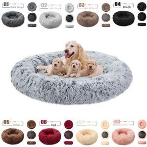 Pet Dog Cat Bed Fluffy Mattress Donut Warm Calming Puppy Cushion Bednest S-XL UK