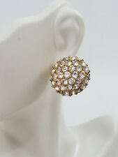 Vintage Gold Tone Rhinestone Dome Earrings 1980s Statement Large Costume Jewelry