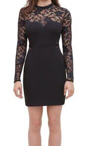 Guess Women's Dress Black Size 8 Sheath Illusion Lace High-Neck Mini $128 #311