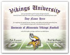 Minnesota VIKINGS - Football Fan Certificate Diploma Man Cave - CHRISTMAS GIFT