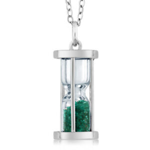 """925 Silver Hourglass Pendant with 0.75 Ct Emerald Dust & 18"""" Chain"""
