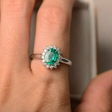 1.80 Ct Emerald Engagement Ring 14K White Gold Natural Diamond Rings Size L M
