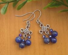 Natural Blue LAPIS LAZULI Gemstone Chinese Lucky Knot Dangle Earrings Feng Shui