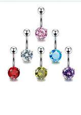 FUNRUN 6PCS 14G Stainless Steel Bell Button Rings for Women Cubic Zirconia Nav