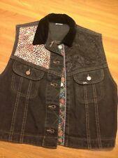 Vtg Denim LEE Sleeveless Black Jean Jacket Vest Womens S Detail Cowgirl
