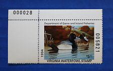 U.S. (Va07) 1994 Virginia State Duck Stamp (Mnh) upper left plate # single