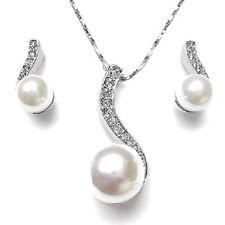 Perles Set Blanc Mariage Mariée de bijoux Strass Collier Boucles D'oreilles NEUF