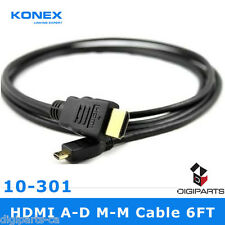 6FT Micro HDMI to HDMI Cable type d 1080P BLACKBERRY HTC DROID EVO 4G FEET FOOT