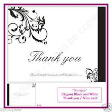 10 THANK YOU CARDS NOTE CARDS elegant black and white flowers wedding engagement