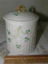 "Belleek Lidded  Jar ""Shamrock""  Green Mark"