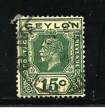 Ceylon Stamps-Scott # 236/A44-15c-Canc//H-1921-23