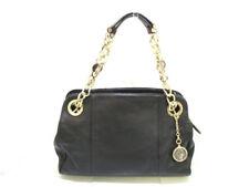 Auth BVLGARI Bvlgari Bvlgari Black Gold Leather &  Metallic Material Handbag