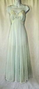 True Vintage 50s Vanity Fair Nightgown Full Sweep Dress Blue Nylon Satin 34 SM