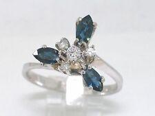 Saphir Ring 750 Weißgold 18Kt Gold 3 natürliche Saphire 4 Diamanten 0,15ct H Si