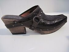 Donald J Pliner Charro Western Couture Brown Tooled Leather Studs Mules 7M