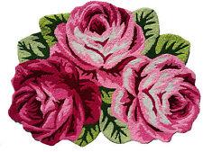 Rose hand embroidered bathmats bath rug washable door mats rose rug 2.5x2.0 ft