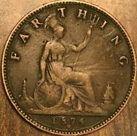 1874H GREAT BRITAIN VICTORIA FARTHING COIN KM# 753