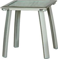 Premium Beistelltisch DIPLOMAT SILBER - Pearl-Glasplatte Tisch Gartenmöbel Liege
