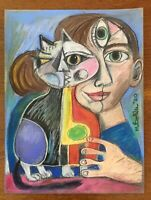 Original Pastel Drawing By MBollen Cat Picatso Woman Blue Eyes Cubism