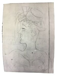 Estate Fresh Abstract Pencil Sketch Portrait of A Lady Signed G Braque