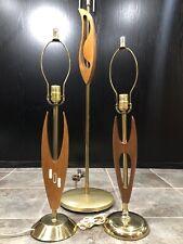 Mid Century Teak Lamp Set Gold/Brass Colour Table Floor Decor