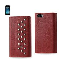 iPhone SE/5S/5 Case Studded Leather Wallet Protective Cover w/ Card Holder Red