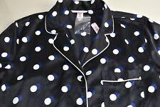 NEW Victoria Secret Afterhours Satin Sleepshirt Lightweight Black Button Down S