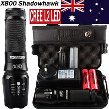 20000LM Genuine X800 Shadowhawk Flashlight XML L2 LED 2PC 5000mAh 18650 Battery