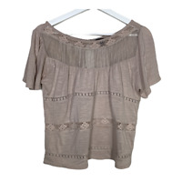 American Eagle Womens Short Sleeve Top Crochet Boho Peasant Shirt Size Medium