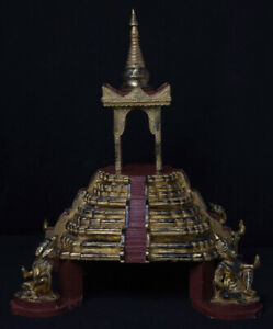 Late 20th Century, Antique Burmese Wooden Throne with Gilded Gold and Angels