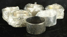 VINTAGE COOL MID CENTURY BRUSHED SILVER SET 6 NAPKIN RINGS COSTUME JEWELRY STYLE